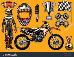 motocross racing tips set high detailed motocross racing element stock vector 645471463