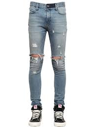 rta 16cm skinny distress stretch denim jeans light blue men