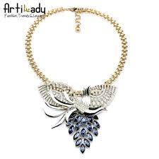 vintage necklace design images Artilady antic gold peacock design with crystal statement necklace jpg