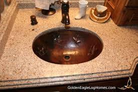 Hammered Copper Bathroom Sink Golden Eagle Log And Timber Homes Design Ideas Log Home Bathrooms