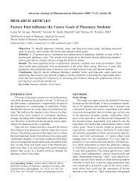 Career Objective Pharmacist Factors That Influence The Career Goals Of Pharmacy Students Pdf