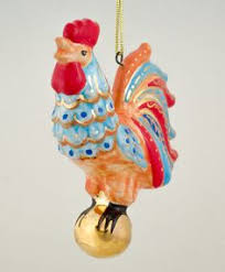 rooster with a russian majolica tree ornament