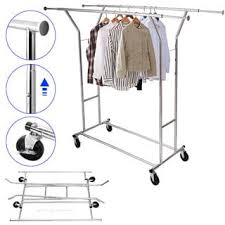 portable double bar steel clothes rack silver free shipping