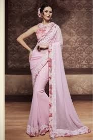 party wear designer saree in baby pink colour