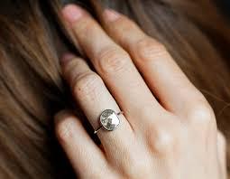 simple diamond rings diamond slice ring grey diamond ring gray diamond ring