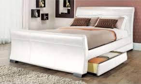 White Sleigh Bed White Leather Sleigh Bed Bonners Furniture
