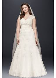 cap sleeve lace over satin plus size wedding dress david u0027s bridal