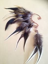 how to make feather ear cuffs handmade large feather ear cuff peacock feathers grizzly