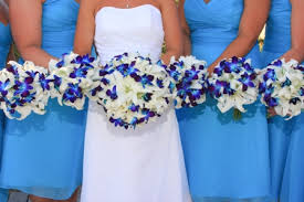 Blue Wedding Flowers White Lilies And Blue Dendrobium Orchids Wedding Bouquets