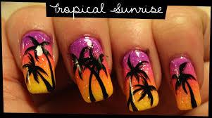tropical sunrise nail art youtube