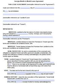 tenancy contract template sample georgia mothly lease agreement