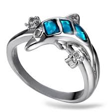dolphin engagement ring aliexpress buy lemoer 2017 new coming animals dolphin