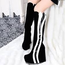 womens white knee high boots nz s shoes nz toe wedge heel knee high boots with split