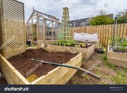 wooden climbing trellis vegetable garden allotment stock photo