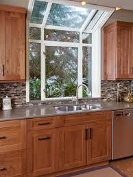 kitchen bay window seat concrete grill island dark gray kitchen