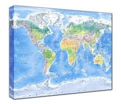 Canvas Map Of The World by Map Canvas Physical World Map From Love Maps On