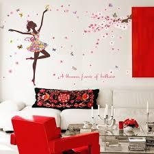 stickers chambre fille vol romantique fleur papillons danse fille autocollant stickers