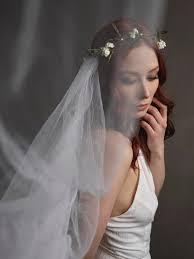 white flower crown veil bridal veil woodland wedding crown