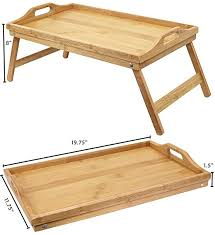 Folding Bed Table Waterproof Foldable Bamboo Breakfast Dinner Serving Bed Table Tray