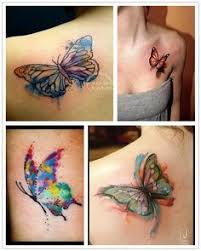 matching watercolor butterfly tattoos with my mine on my