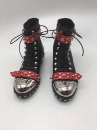 motorcycle style boots okhotcn runway boots women cool studded rivets leather bota