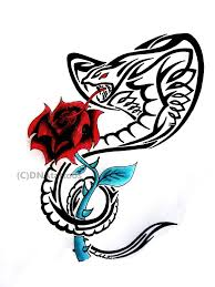 black tribal cobra snake with red rose tattoo design