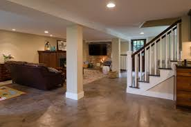 interior concrete basement flooring ideas with dark brown leather