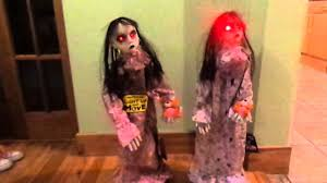 2 5ft halloween party prop twin bloody girls red eyes lights sound