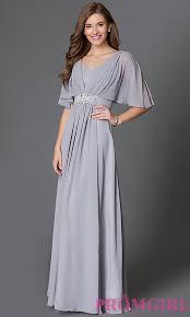 flutter style dress empire waist long chiffon dress with sleeves
