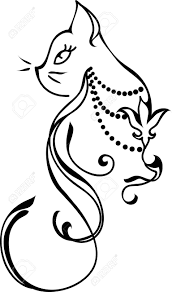 silhouette of a cat tattoo style design royalty free cliparts