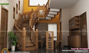 home stairs design under stair design wooden stair kitchen and living kerala home