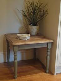vintage wooden painted side table with drawer painted grey by