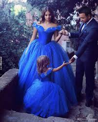 cinderella royal blue prom dresses ball gown off shoulder beads