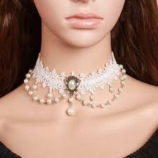 wedding choker necklace images White lace choker necklace with pearls victorian inspired choker jpg