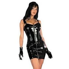 pvc leather dress women wetlook clubwear back zipper mini