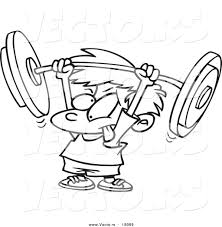 vector of a cartoon little boy lifting a barbell outlined