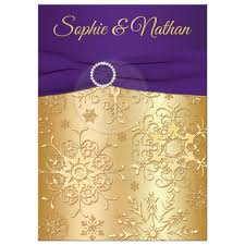 Invitation Cards Design With Ribbons Winter Wedding Invitation Purple Gold Snowflakes Printed