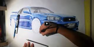 nissan skyline r34 gtr drawing amazing art tribute for this