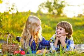 Kids Picnic Basket Happy Kids Eating Fruits From Picnic Basket Outdoor Romantic Or