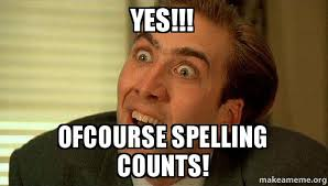 Spelling Meme - yes ofcourse spelling counts sarcastic nicholas cage make a meme