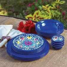thanksgiving melamine plates 16 piece indoor outdoor melamine dinnerware set blue