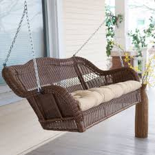 Outdoor Patio Swing by Walnut Brown All Weather Resin Wicker Porch Swing With Hanging