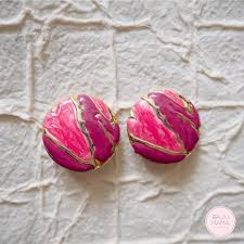 80s earrings 80s pink and gold enamel earrings baju vintage