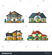 high tech house residential houses icons trending minimal flat stock vector