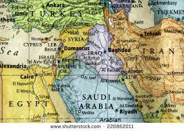 middle east map medina colored map iraq syria surrounding middle stock photo 220862011