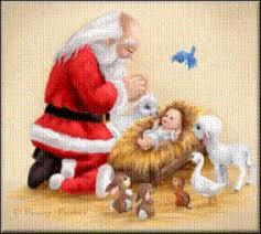 santa kneeling at the manger christmas spirit all year october 2010