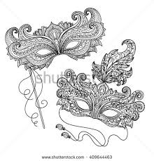 set carnival masquerade mask doodle style stock vector 595924241