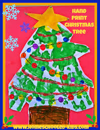hand print christmas tree craft for kids homeschooled kids online