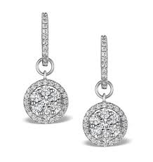 drop diamond earrings halo diamond drop earrings florence 1 50ct in 18k white gold