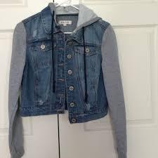 jean sweater jacket 56 miss posh outerwear button up half jean half sweater